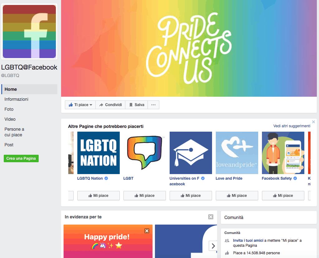 16DEE- Reaction su Facebook: ecco come ottenere il Pride, la bandierina arcobaleno- immagine LGBTQ