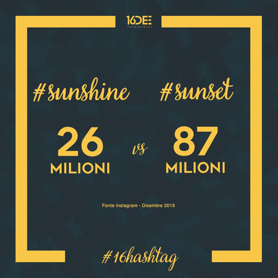Sedicidee - a cosa servono gli hashtag - parola chiave #sunshine #sunset
